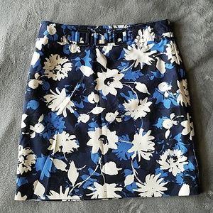 Rafaella Blue White Floral A Line Skirt